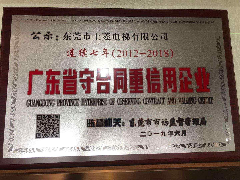 2012-2018年广东省守合同重信用企业